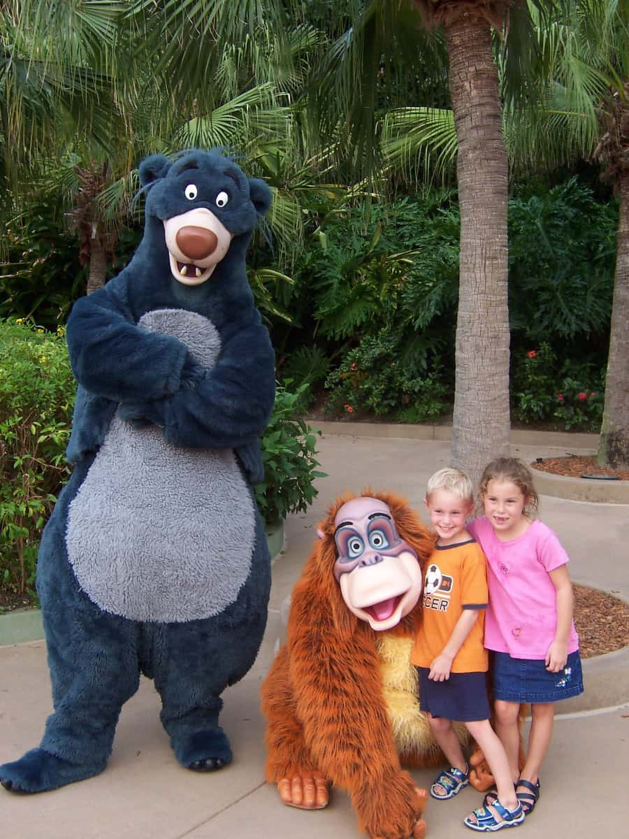 Baloo and Louie Animal Kingdom Front Gates 2004