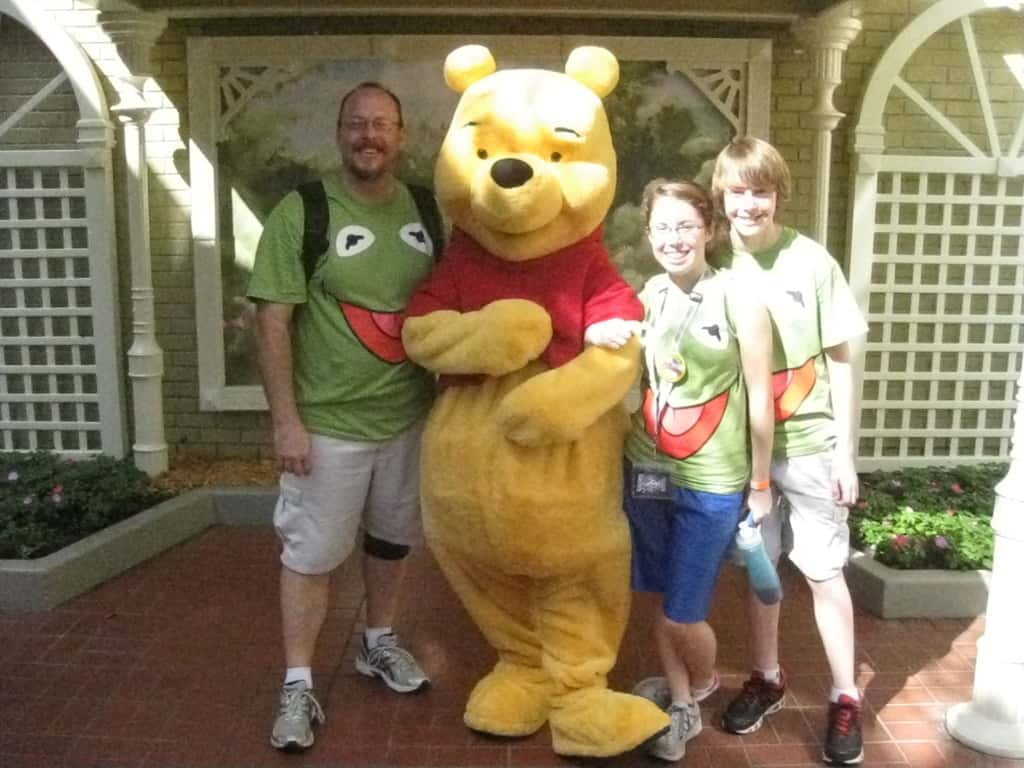 Pooh Bear meeting next to City hall in 2012 Leap Day