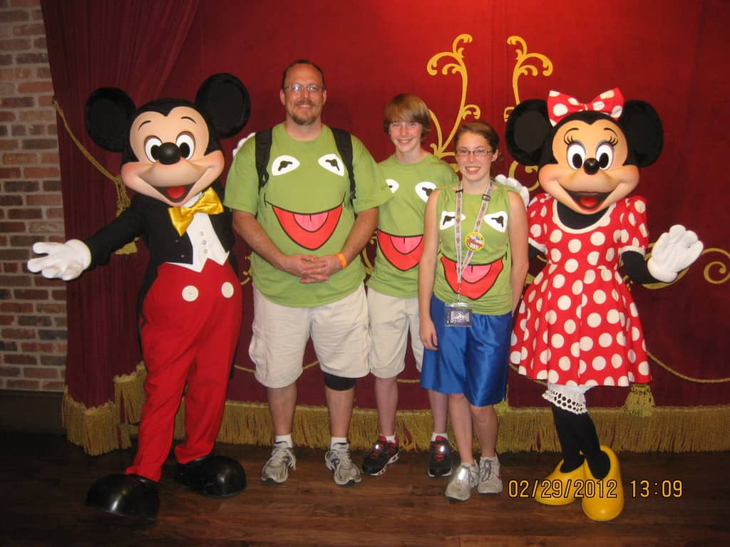 Mickey at Town Square Theater in Magic Kingdom 2012 Leap Day