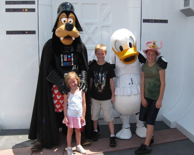 Darth Goofy and Donald.  Donald is supposed to become Donald Maul this year!  He was storm trooper.  Near Commissary and Great Movie Ride.  Fixed location.