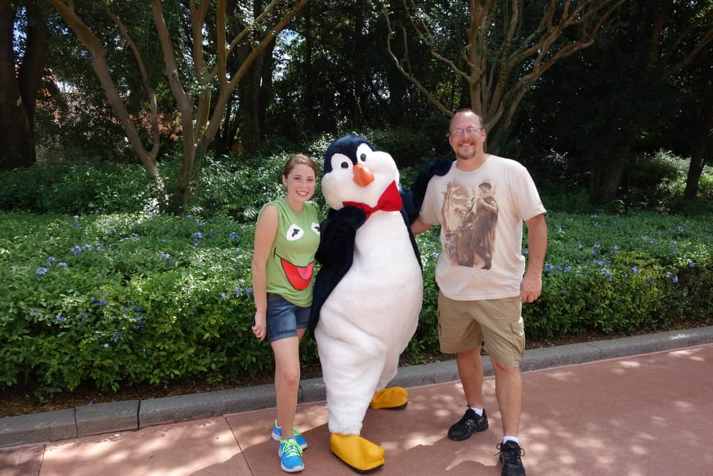 Mr. Penguin in Epcot next to American Adventure 2012
