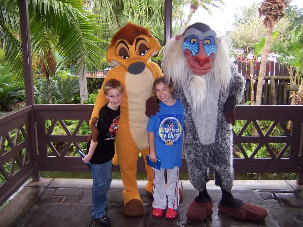 Timon with Rafiki in 2006 at Magic Kingdom's Adventureland Verandah