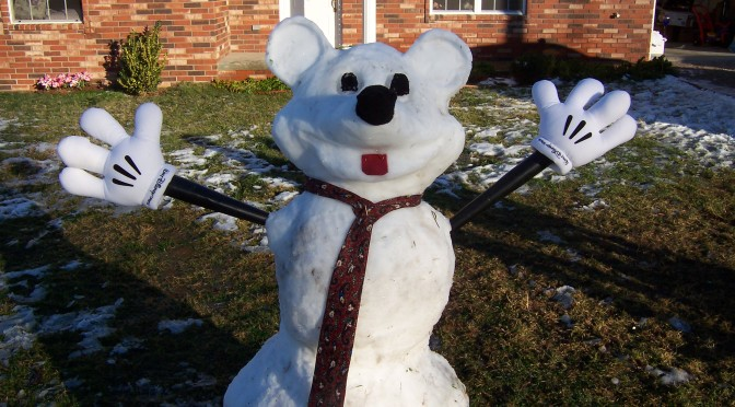 What should you do when it begins to snow?  Build Disney snowmen