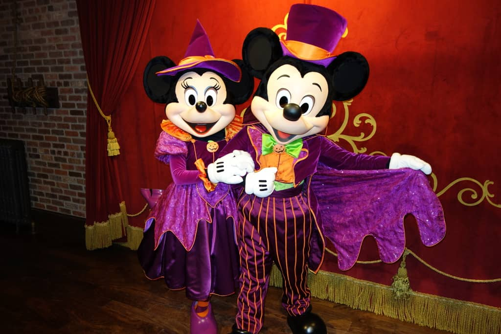 Mickey as magician and Minnie as witch at Mickey's Not So Scary Halloween Party - September 2012