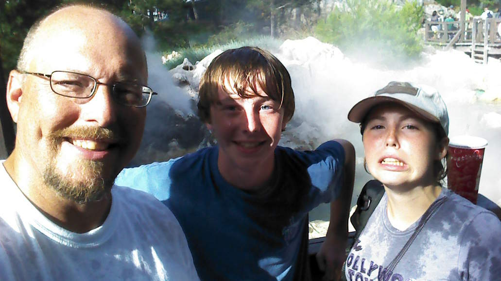 This was our photo after riding Grizzly River the first time.  Wet and cold!