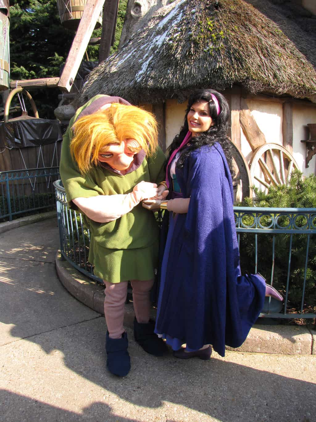 Esmeralda & Quasimodo did Meet'n'Greets on Valentine Day in 2010. Quasimodo can't be found in the Parks normally