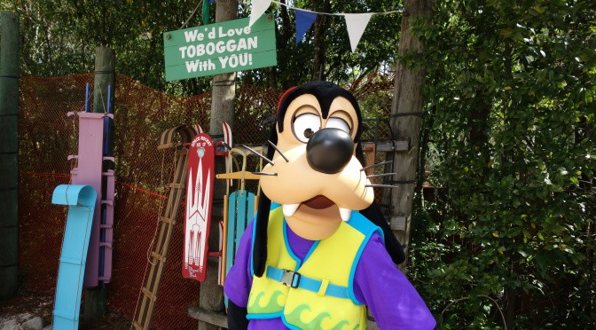 Meeting characters at Blizzard Beach and Typhoon Lagoon