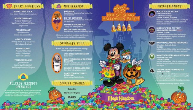 Mickey's Not So Scary Halloween Party Map 2017 Front