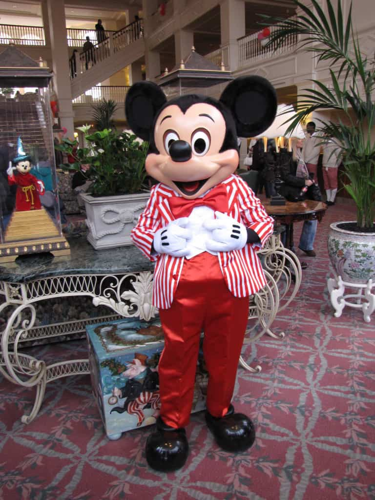 Mickey wearing one of his special outfits at the Disneyland Paris Hotel.