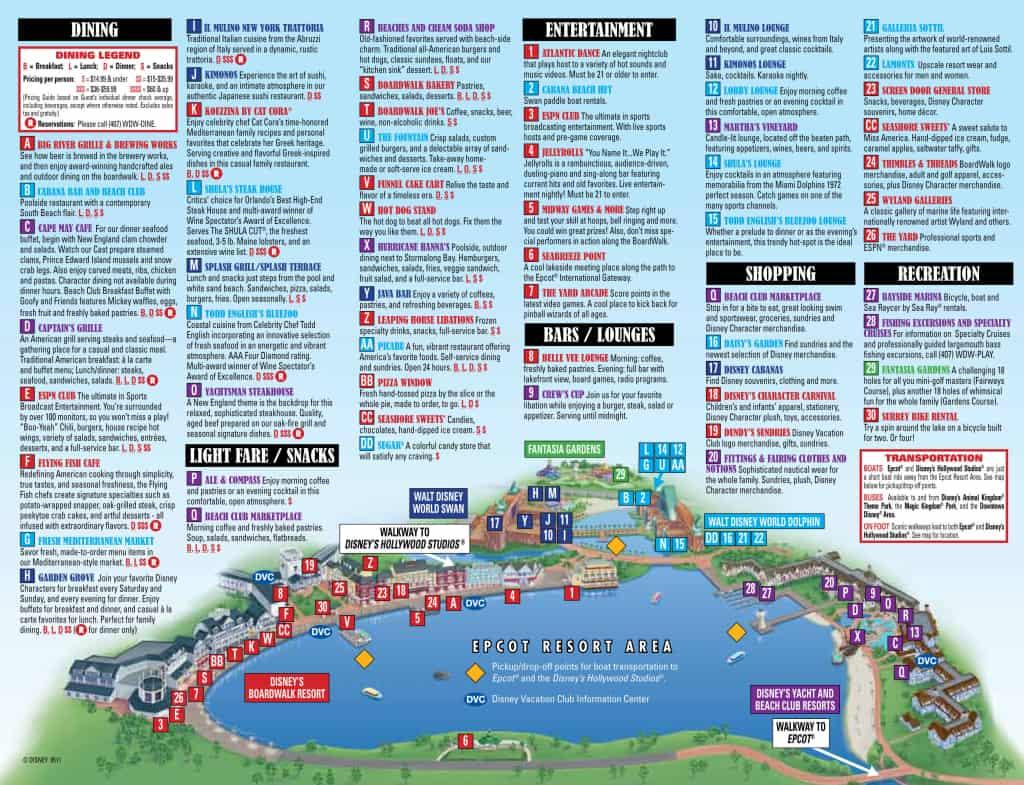 Epcot Resort Area Map