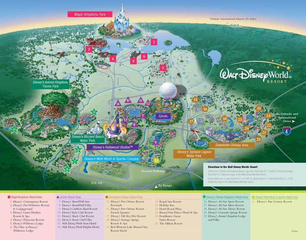 Walt Disney World maps for theme parks resorts transportation Downtown Dis