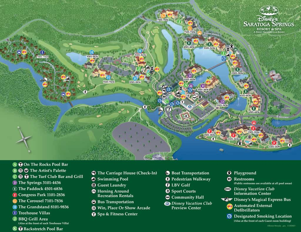 Disney World maps for theme parks  resorts  transportation  Downtown  Disney and water parks  Saratoga Springs Resort Map. Saratoga Springs Map   KennythePirate com