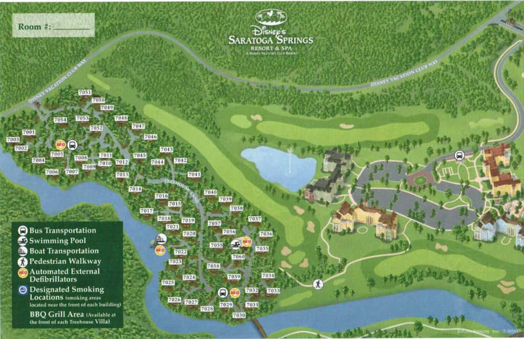 Disney World maps for theme parks  resorts  transportation  Downtown  Disney and water parks  Saratoga Springs Treehouses Map. Saratoga Treehouse Map   KennythePirate com