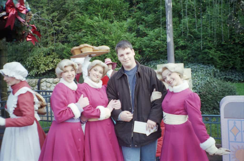During Christmas Season 2002/2003 and 2003/2004 a small show was held in Belle's Village in Fantasyland. The show featured Belle, Gaston and a couple of the village people including The Bimbettes. After each show they would do Meet'n'Greets with guests.