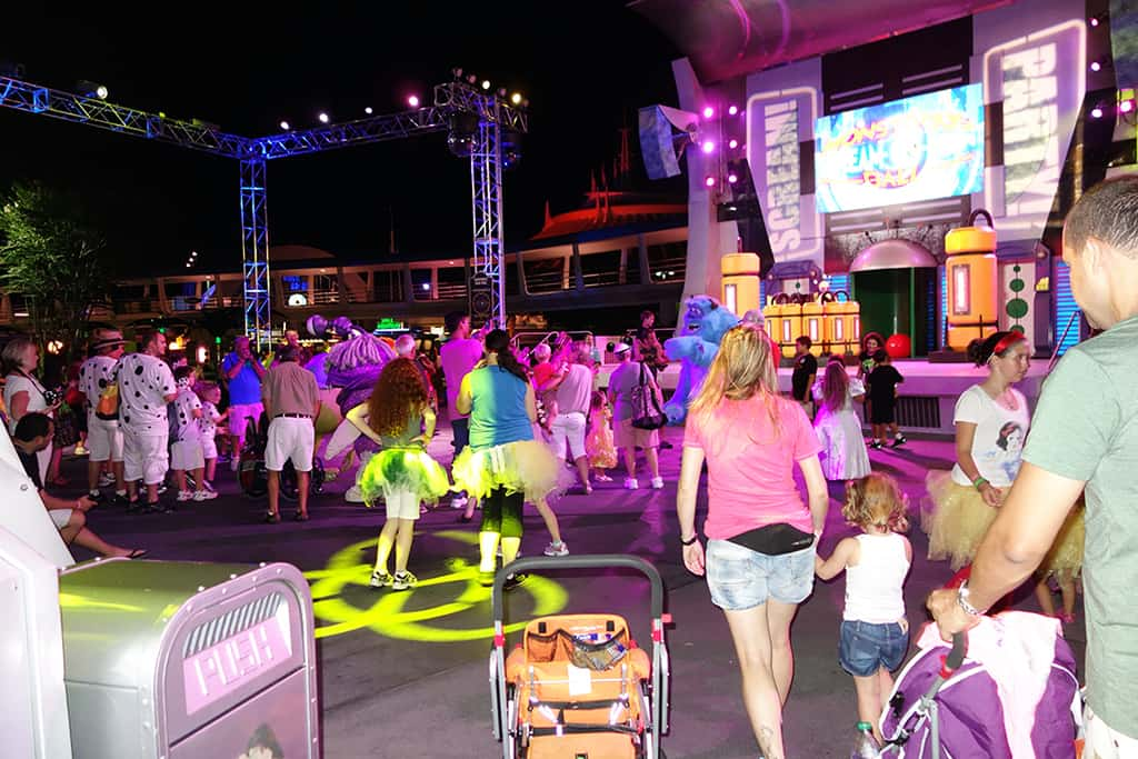 Monsters Inc Dance Party.  Woot woot!  It's always fun to interact with different characters, so this was a nice plus over the same old Tomorrowland Dance Party.