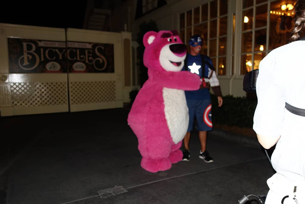Lotso the evil Huggin' Bear.  Be careful his hugs are laced with strawberry scent to woo you over to his nefarious ways.  9:53 PM  Town Square