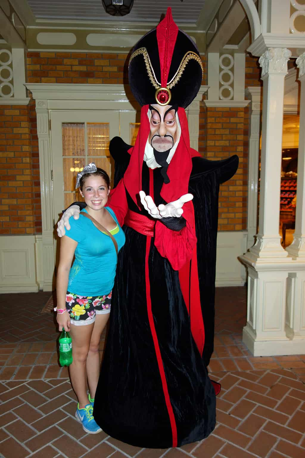 Jafar.  Our intrepid teen reporter only got to meet two characters from running around all over the park taking photos and getting meet and greet times.  Now her photo will be added to the hit list by management like me!