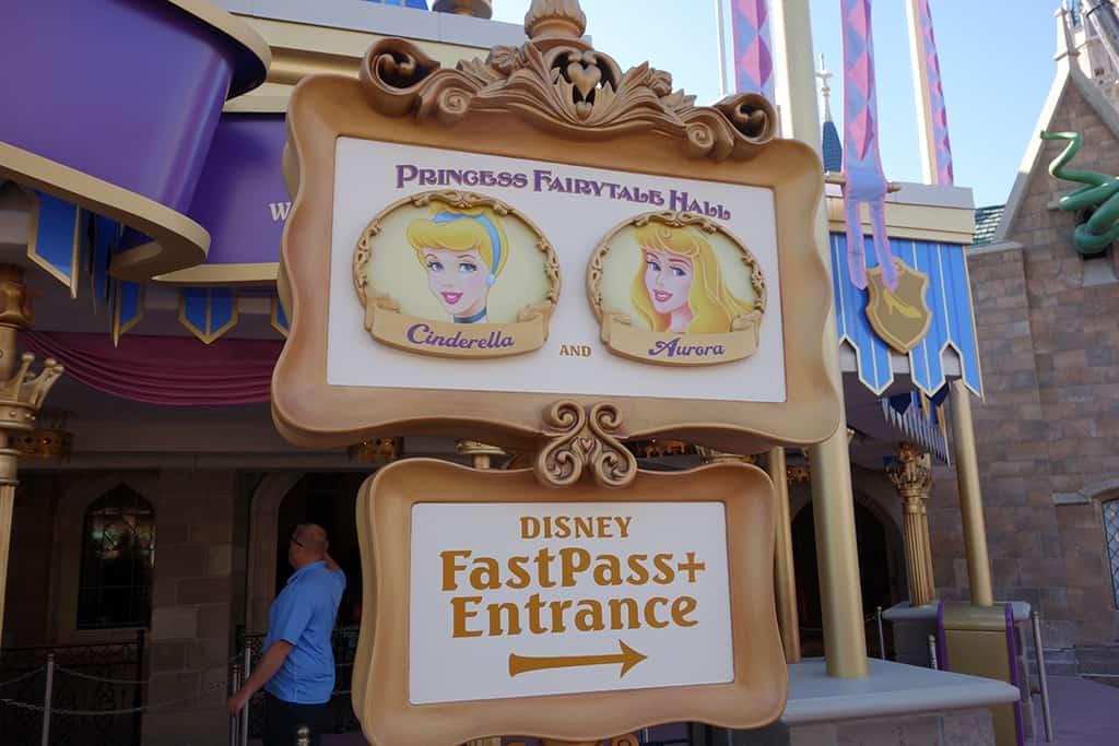 The sign clearly marks which Princess is in which line, but people still kept asking :) RIGHT side Cinderella/Aurora