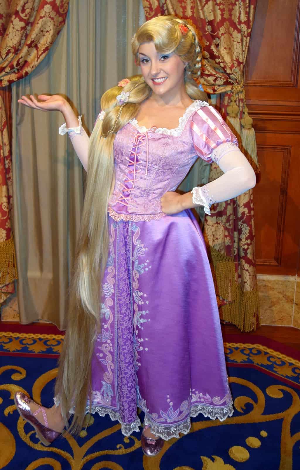 Rapunzel at Princess Fairytale Hall in the Magic Kingdom at Disney World