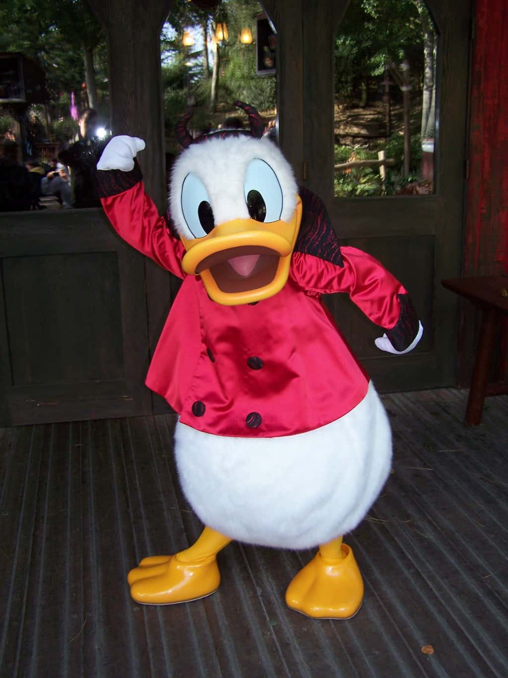 Donald wearing his devil outfit during the Halloween Season. This outfit isn't being used anymore inside the Parks, but can be found sometimes at the hotels during Halloween Season.