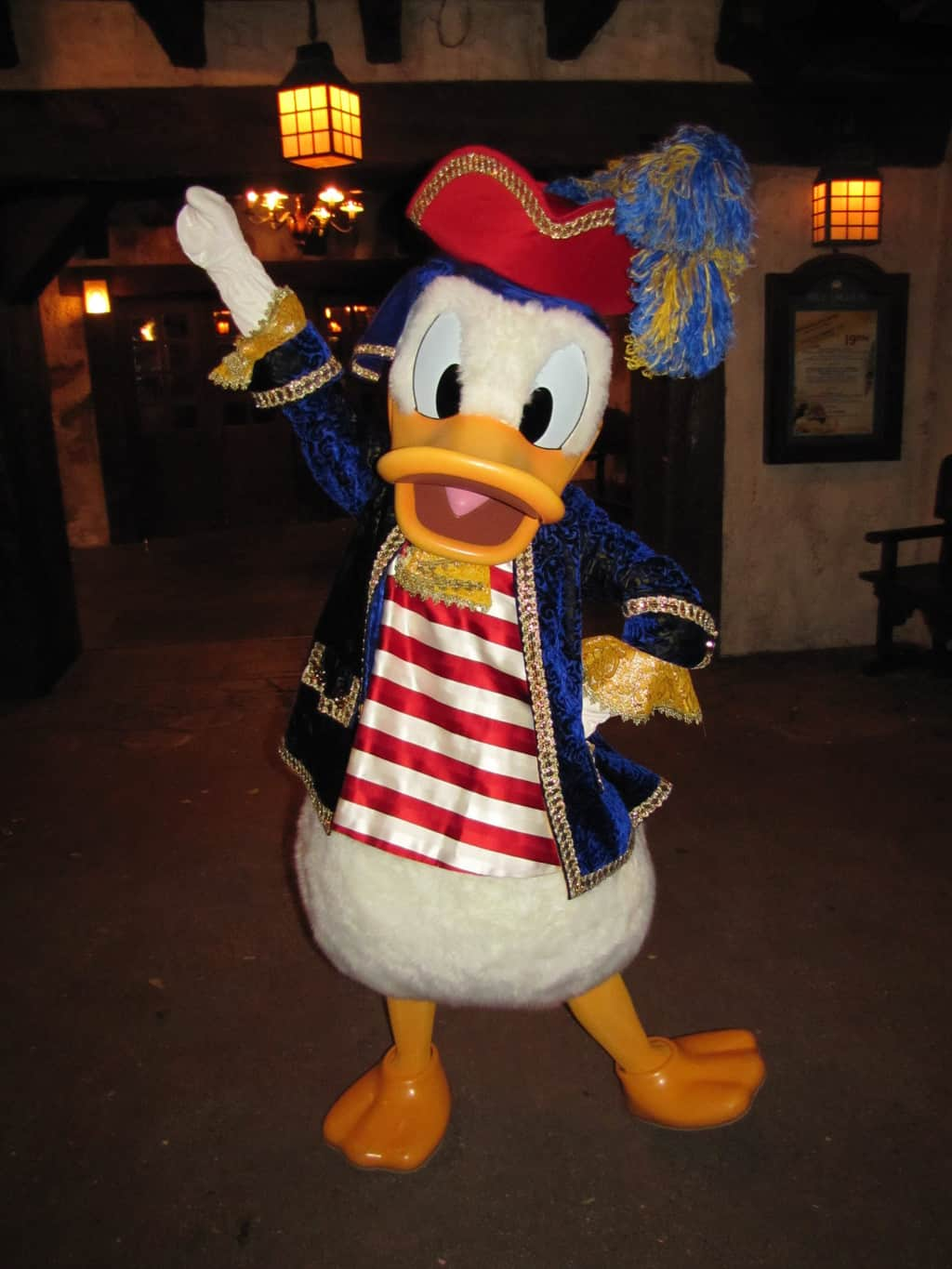During the Mickey's Not So Scary Halloween Party of 2011 Donald was meeting guests wearing his Pirate outfit. A year later this outfit was modified and used again during a special Halloween version of the Character Express on October 31st.
