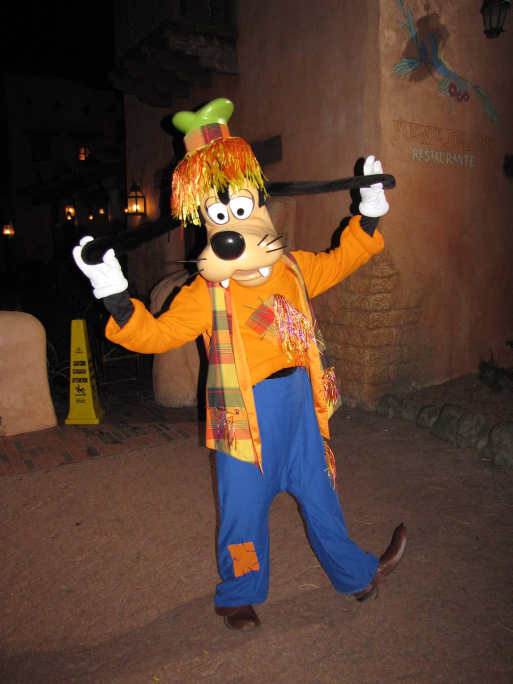 During the Mickey's Not So Scary Halloween Parties in 2009 Goofy wore his scarecrow outfit.