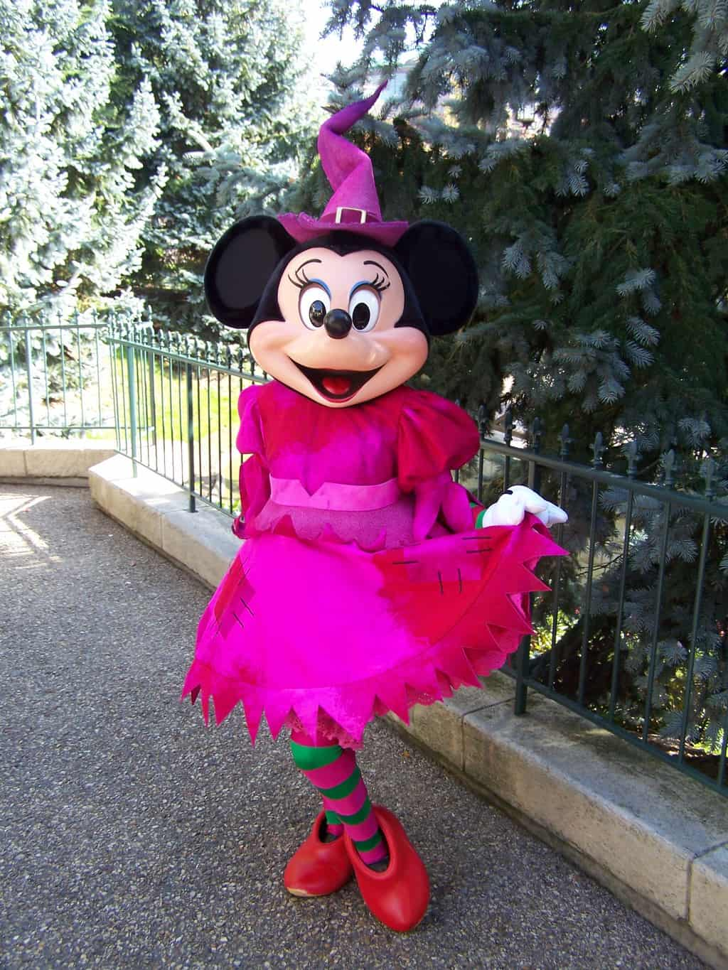 In 2007 Minnie was wearing her pink with outfit during several mini shows in the Disneyland Park.