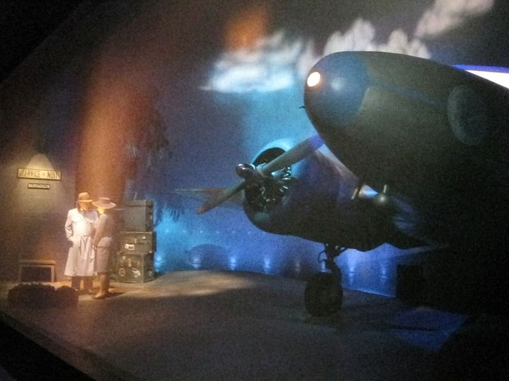 This is the beginning of the airplane that ends in the Jungle Cruise.
