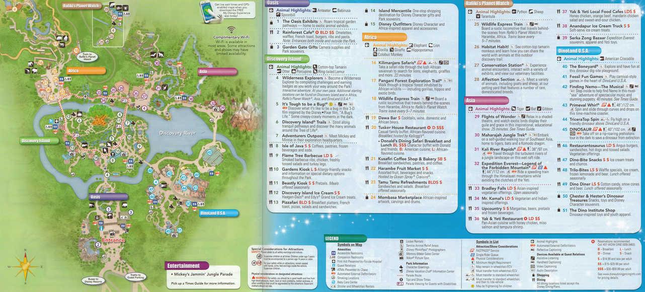Walt Disney World Animal Kingdom Map KennythePiratecom - Ak map