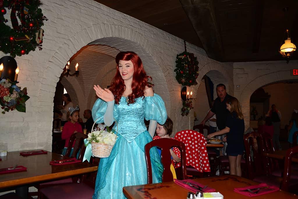 Walt Disney World, Epcot, Akershus Royal Banquet Hall, Princess Character Meal, Belle in Christmas Dress, Ariel