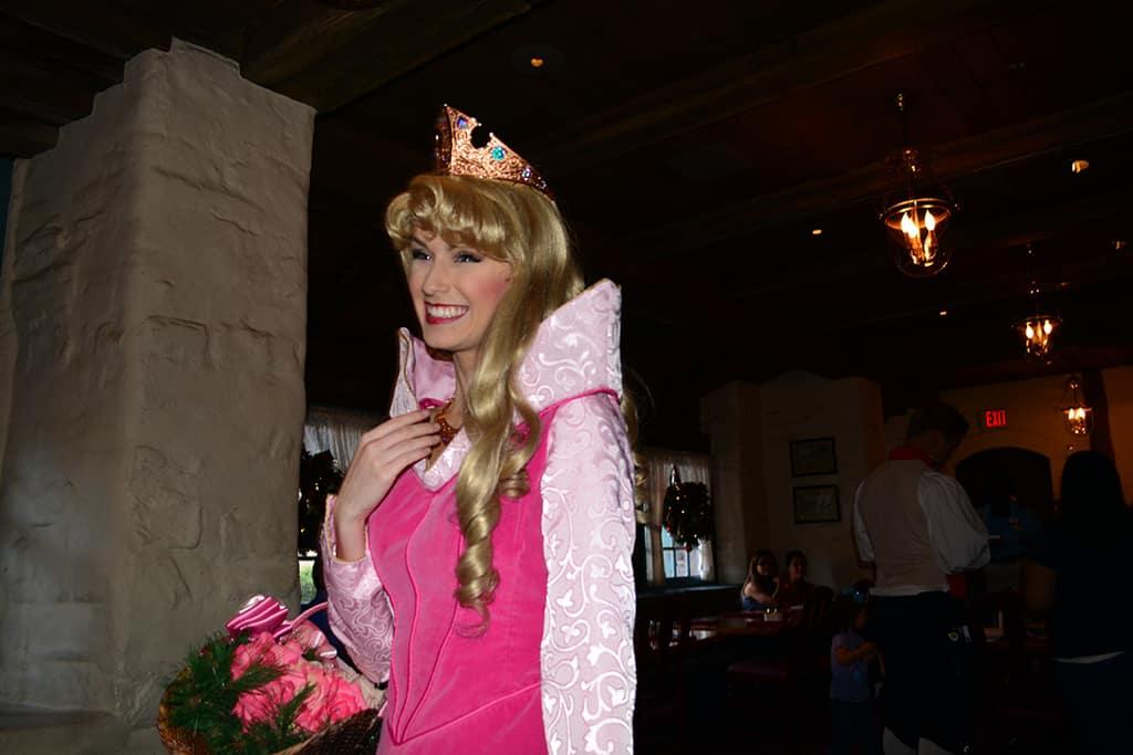 Walt Disney World, Epcot, Akershus Royal Banquet Hall, Princess Character Meal, Belle in Christmas Dress, Aurora, Briar Rose, Sleeping Beauty