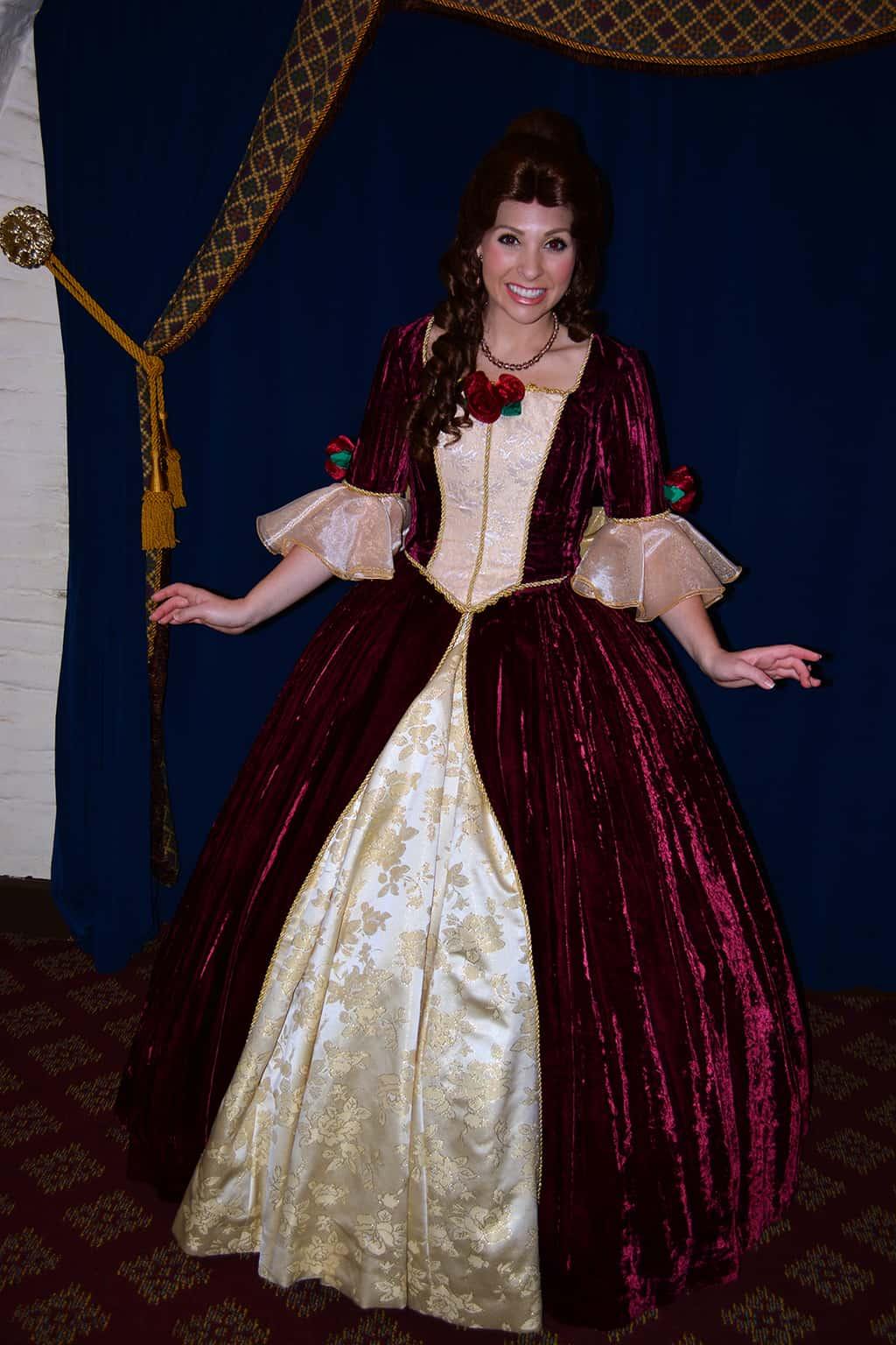 Belle in Red Dress at Epcot's France Pavilion