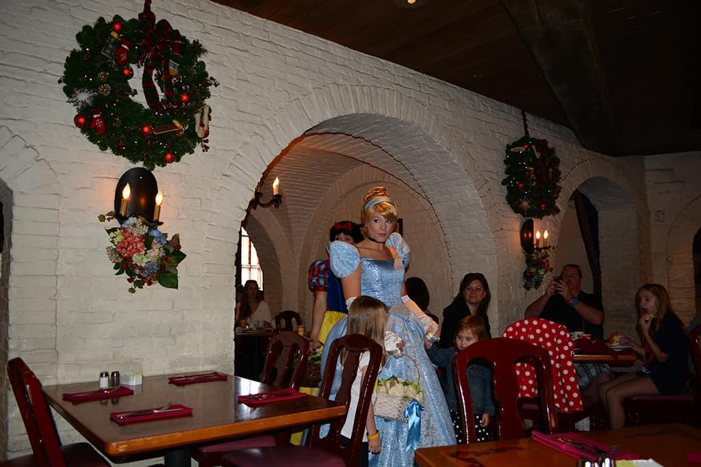 Walt Disney World, Epcot, Akershus Royal Banquet Hall, Princess Character Meal, Belle in Christmas Dress, Cinderella