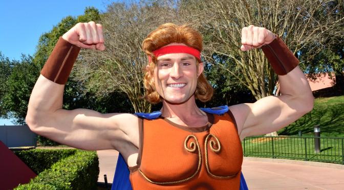 Meeting Hercules at Epcot's Imagination Pavilion in Walt Disney World