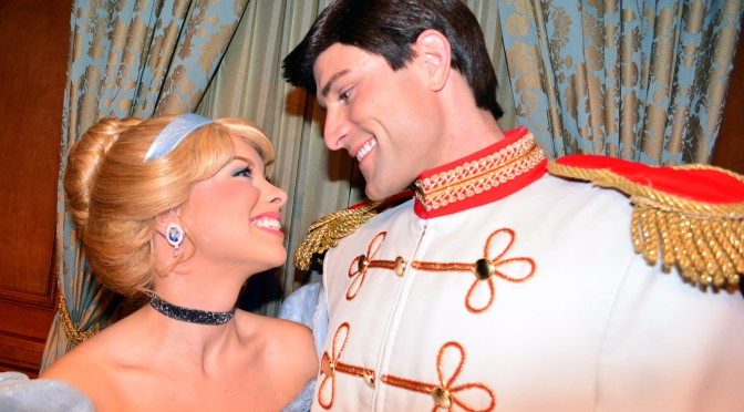 Disney Princes appear with their Princesses for Valentine's Day at the Magic Kingdom in Walt Disney World