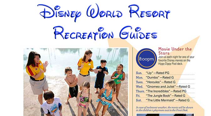 Disney World Resort Recreation Activities Guides, Disney World Resort Activities Calendar