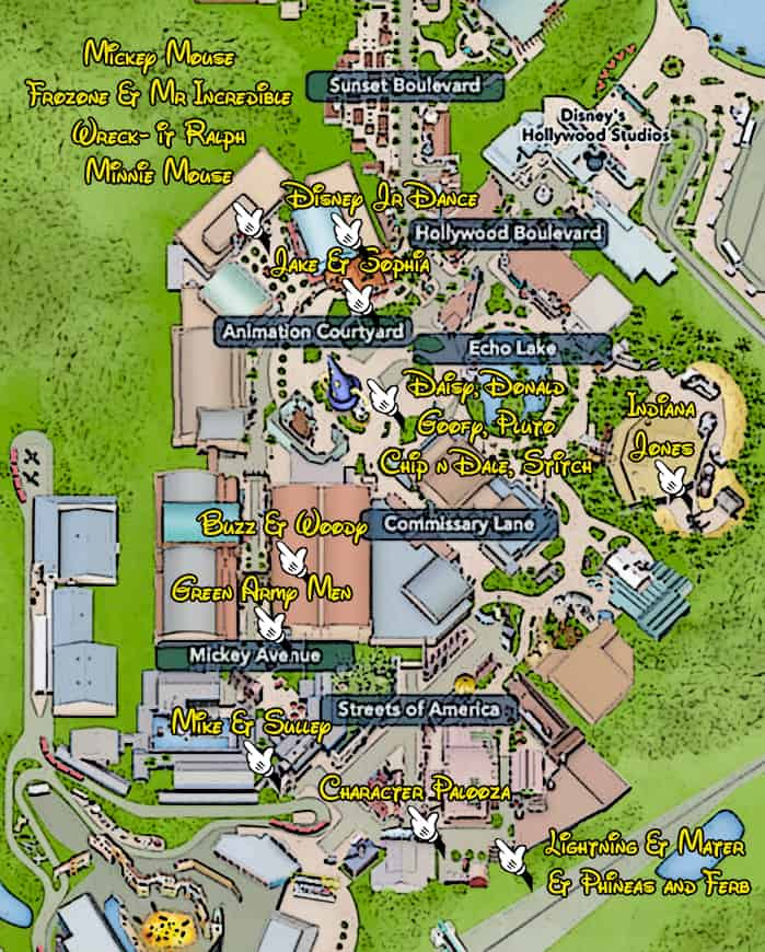 Map Of America Hollywood.Kennythepirate Hollywood Studios Character Locations Map