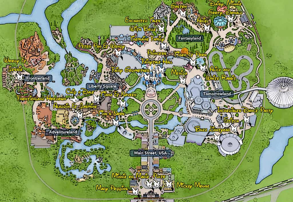KennythePirate-Magic-Kingdom-Character-Locations-Map ... on