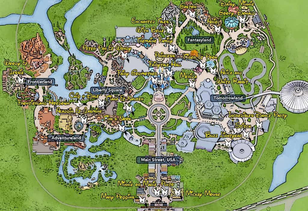 KennythePirate Magic Kingdom Character Locations Map