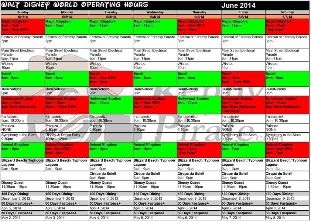 June 2014 Disney World Crowd Calendar Park Hours KennythePirate