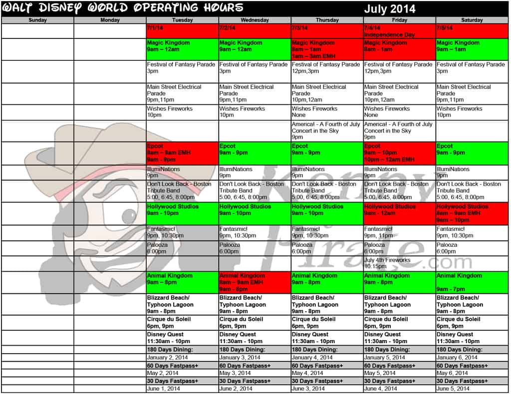 July 2014 disney world crowd calendar park hours kennythepirate Busch gardens crowd calendar