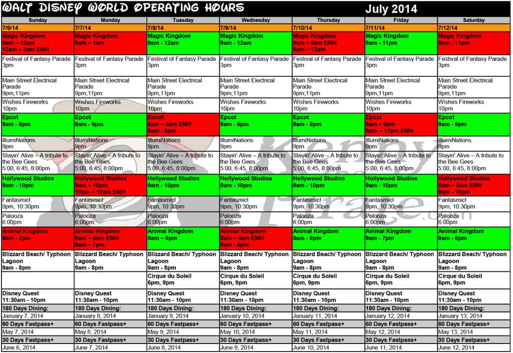 July disney world crowd calendar park hours kennythepirate 2 Busch gardens crowd calendar