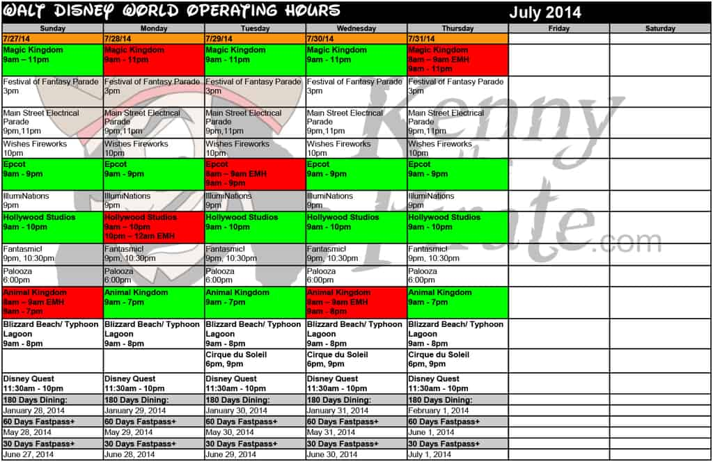 July Disney World Crowd Calendar Park Hours KennythePirate-5 ...