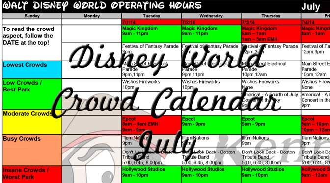 July Disney World Crowd Calendar Park Hours KennythePirate, EasyWDW Crowd Calendar, Best Times to Visit Disney World, Free Disney World Crowd Calendar, Best Disney World Crowd Calendar