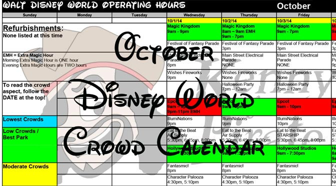 October Disney World Crowd Calendar Park Hours Entertainment with Fastpass and Dining Booking Dates KennythePirate