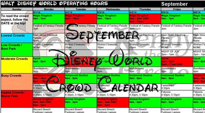 Disney World Crowd Calendar September 2017