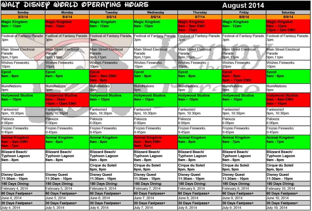 August 2014 Disney World Crowd Calendar Park Hours KennythePirate