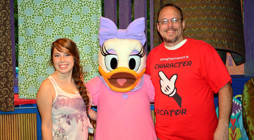KennythePirate meeting with Daisy Duck at Animal Kingdom