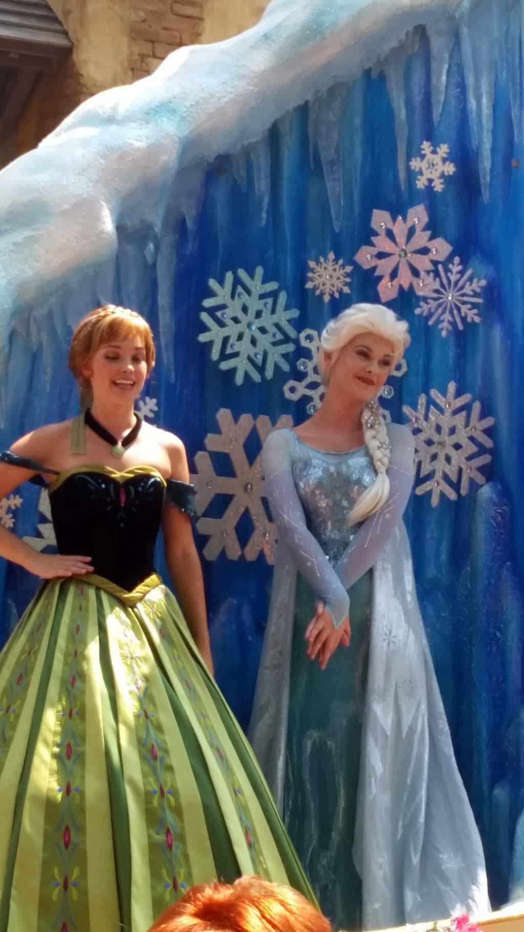 Festival of Fantasy Parade Anna and Elsa in Magic Kingdom