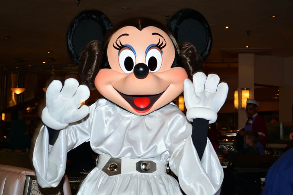 Princess Leia Minnie Mouse at Jedi Mickey Star Wars Diner at Hollywood and Vine in Disney Hollywood Studios